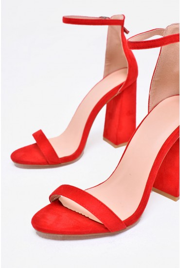 Jules Strappy Block Heels in Red