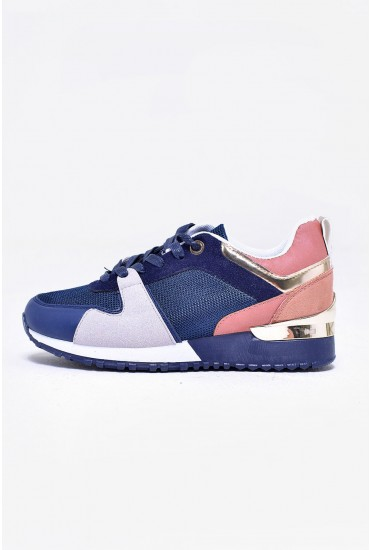 Wes Lace Up Trainers in Multi Navy