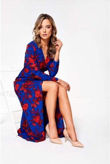 Zack Wrap Maxi Floral Dress in Royal Blue