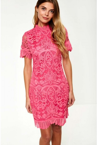 Diana Crochet Overlay Midi Dress in Cerise
