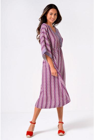 Daisy Midi Dress in Tribal Print