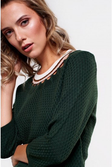 Reese Neck Detail Knit in Dark Green