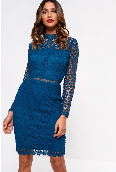 Aureta High Neck Lace Pencil Dress in Teal