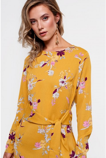 Gail Long Sleeve Dress in Mustard Floral Print