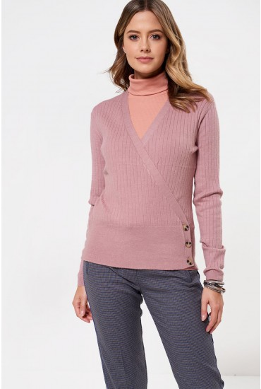 Erika Long Sleeve Wrap Cardigan in Rose