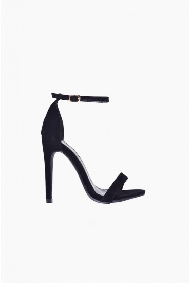 Holly Ankle Strap Sandals in Black Suede