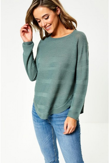 Caviar Long Sleeve Knit Jumper in Green