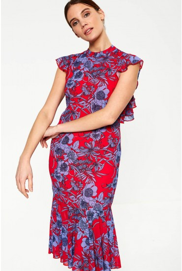 Amaranta Oriental Peplum Dress in Red