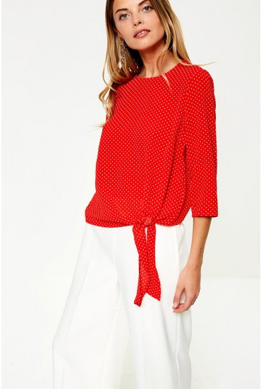 Nova Side Tie Polka Dot Top in Red