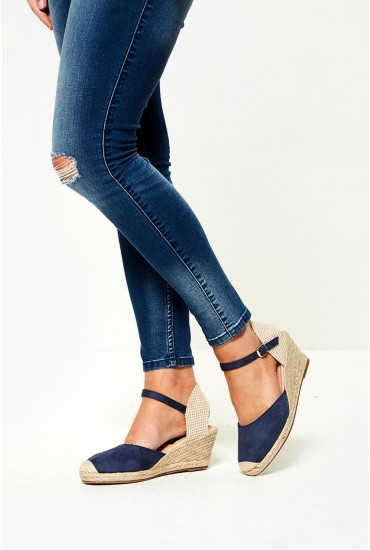 Jira Espadrille Wedges in Navy Suede