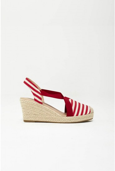 Tamma Espadrille Wedges in Red Stripe