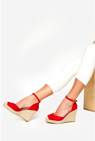 Jay Espadrille Wedges in Red Suede
