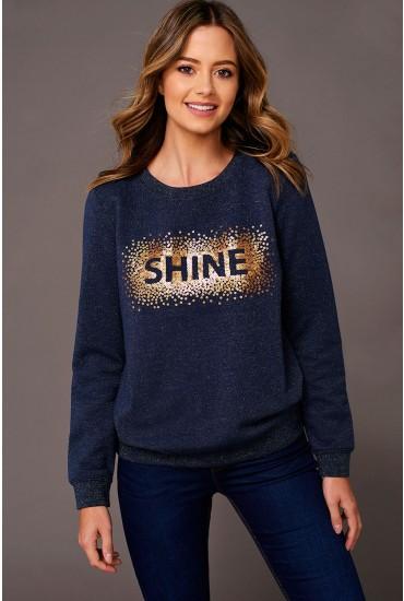 Esther Shine Sequin Sweatshirt in Navy