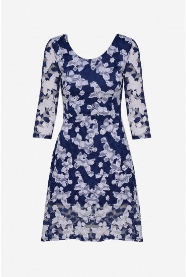 Eva Tea Dress in Navy Print