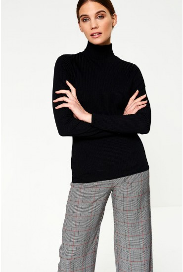 Evelyn High Neck Ribbed Top in Black