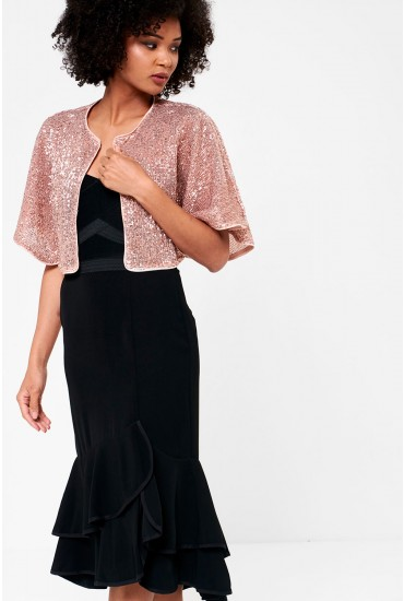 Killers Evening Cape in Rose Gold Sequin