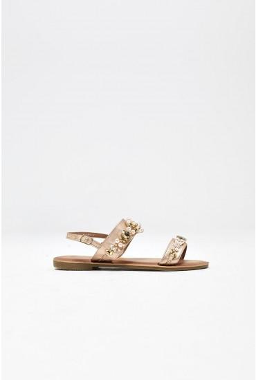 Itzel Embellished Flat Sandal in Rose Gold
