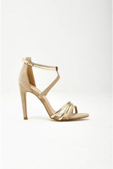 Sage Gold Detailed Sandals in Nude