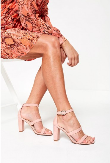 Spring Ankle Strap Sandals in Blush