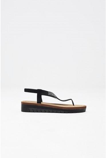 Malia Flat Sandal in Black Sequin