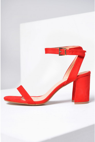 Daria Strappy Block Heel Sandals in Red Suede