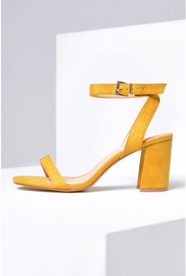 Daria Strappy Block Heel Sandals in Yellow Suede