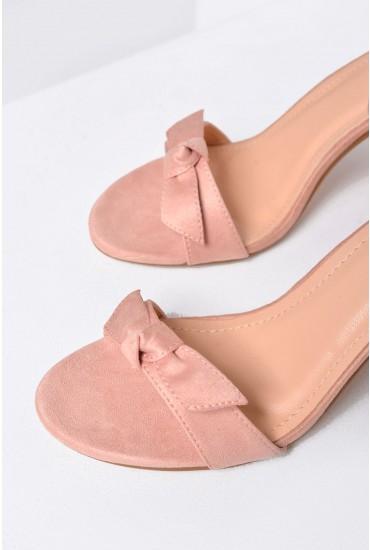 Emma Bow Block Heel Sandals in Blush