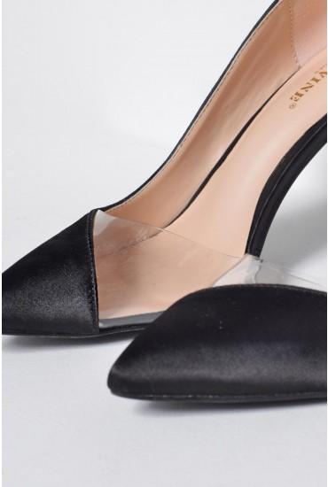 Trinity Illusion Shoe in Black Satin