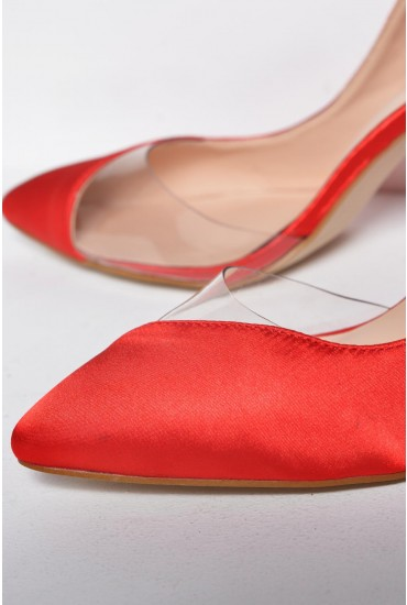 Trinity Illusion Shoe in Red Satin