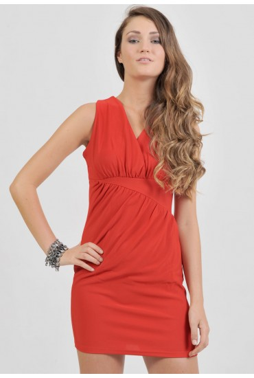 Pauline Gathered Detail Dress in Red