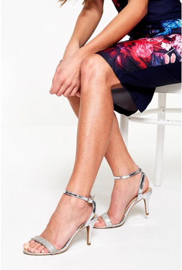 Jocelyn Diamond Ankle Strap Sandals in Silver