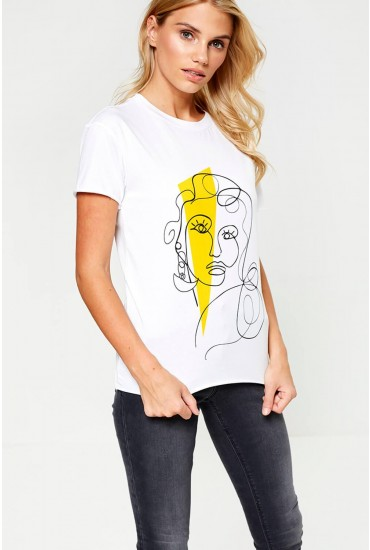Heart Face T-Shirt in Yellow