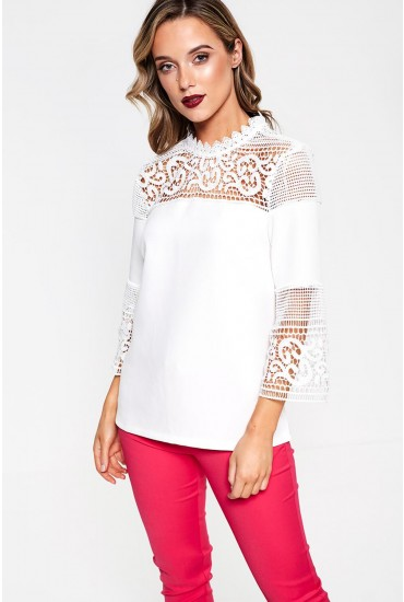 Fatima 3/4 Sleeve Lace Top in Ivory