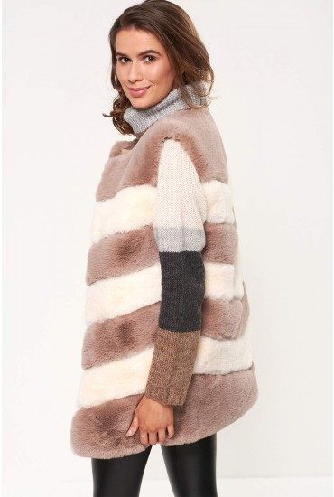 Florina Sleeveless Faux Fur Gilet in Beige