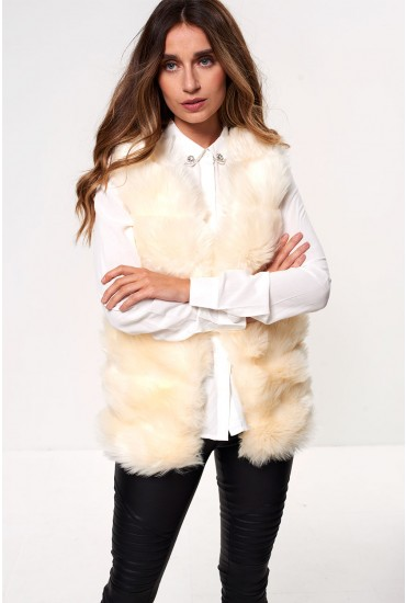 Cassie Faux Fur Gilet in Cream
