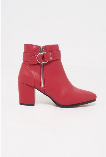 Karla Faux Leather Ankle Boots in Red