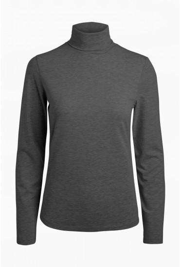 Fay Long Sleeve Rollneck Top in Dark Grey
