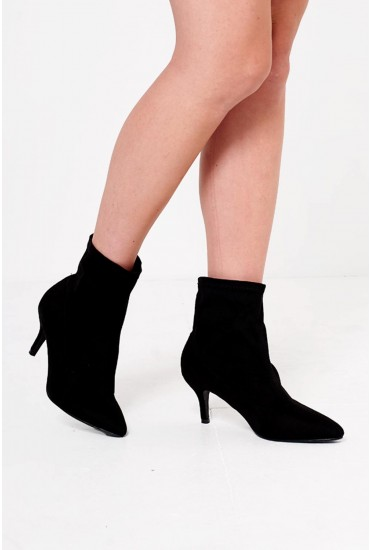Haven Suede Pointed Heeled Sock Boot in Black
