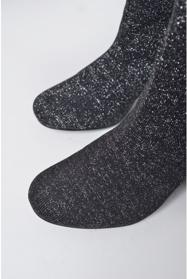 Casey Glitter Sock Boot in Black