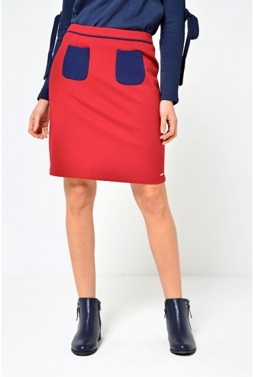 Fem Colour Block Mini Skirt in Dark Red