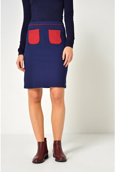 Fem Colour Block Mini Skirt in Navy
