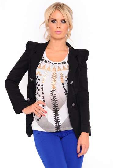 Evelyn Double Breasted Jacket in Black