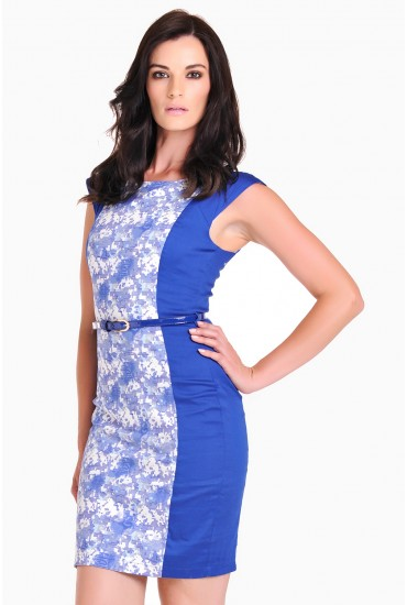 Kerry Print Panelled Shift Dress in Blue