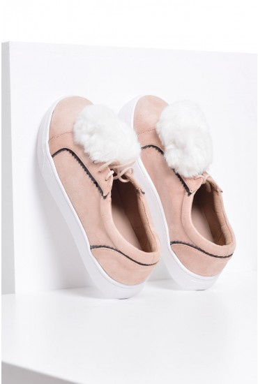 Kylie Pom Pom Trainer in Pink Suede