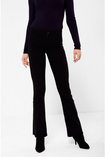 Skin Mid Rise Flared Trousers in Black