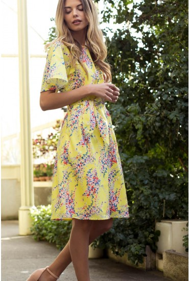 Lila Floral Knot Dress in Yellow