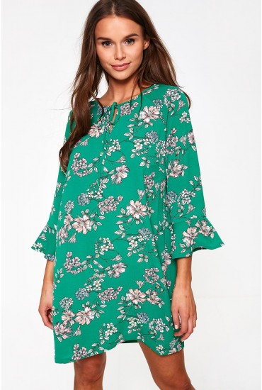 Nova Floral Print Dress in Green
