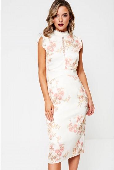 Vanna Floral Print Midi Dress in Cream