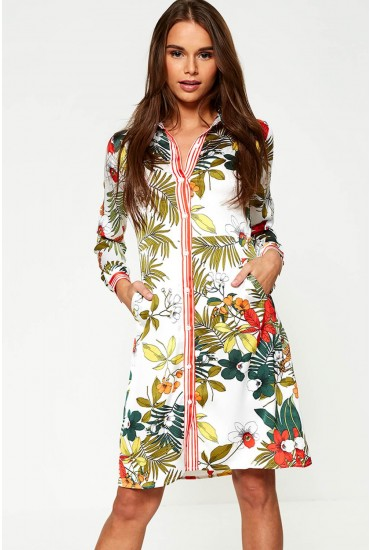 Lena Floral Print Midi Dress in White
