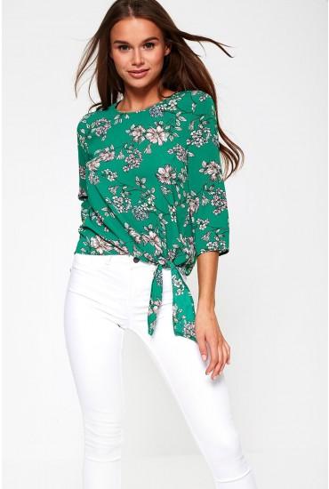 Nova Floral Print Tie Top in Green